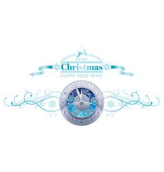Merry christmas happy new year holiday border vector
