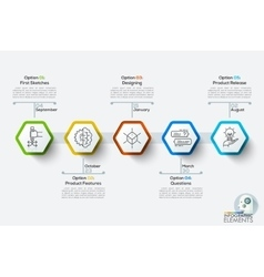 Modern infographics timeline template with 5 white vector image vector image