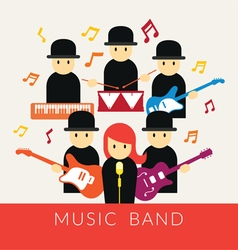 Musician with instruments band group vector