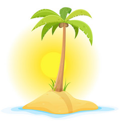 palm tree on tropical desert island vector image