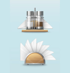 Pepper and salt shakers with napkins vector