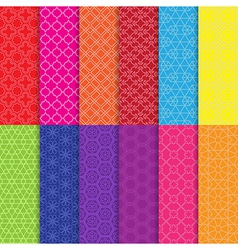 Set of colorful line seamless patterns vector image vector image