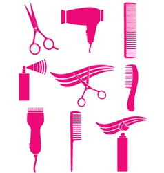 set of hairdresser tools vector image vector image
