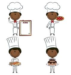 Smart cute African-American chef men vector image