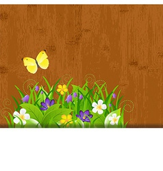 Wood background with leaves and flower vector