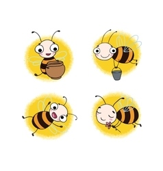 Set with cute cartoon bees vector image