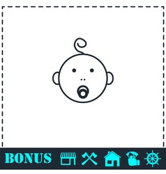 Cute baby with pacifier icon flat vector