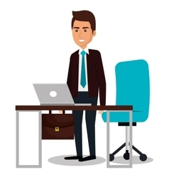 Businessman working in computer vector