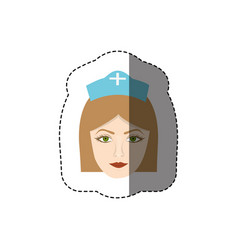 Color sticker with head of female nurse vector