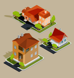 Set of isometric residential houses vector