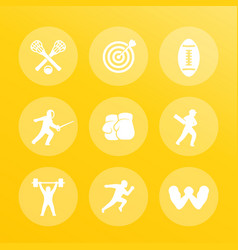 sports icons set archery boxing lacrosse vector image