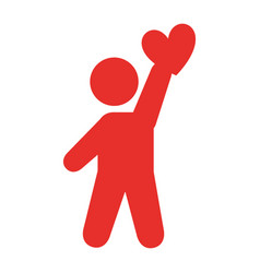 Human figure lifting heart silhouette icon vector