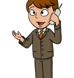 Cartoon businessman talking cell phone vector