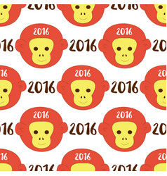 2016 seamless pattern with stylized monkey head vector