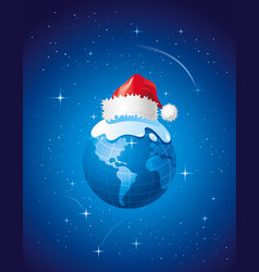Merry christmas dear planet poster with earth in vector