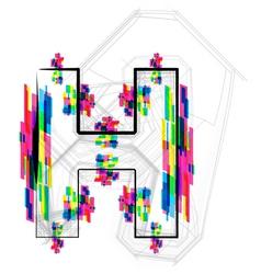 Colorful Font Letter H vector image