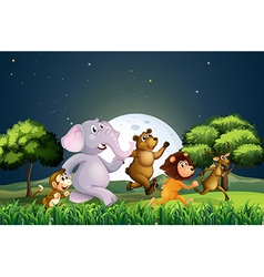 Animals walking in the middle of the night vector image