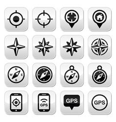 GPS navigation wind rose compass buttons set vector image