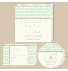 Green vintage wedding invitations set vector