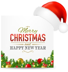 Christmas Card With Santa Hat And Text vector image