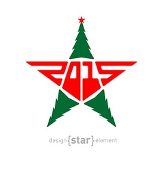 Merry christmas star with green pine and new year vector