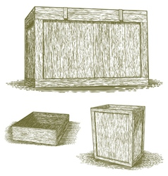 Woodcut wooden crates vector