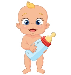 Cartoon baby holding bottle vector