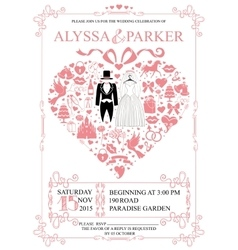Wedding invitation with heart compositionWedding vector image