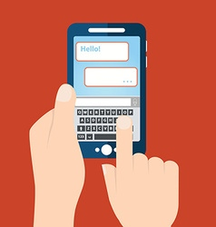 Texting sending sms from smartphone vector