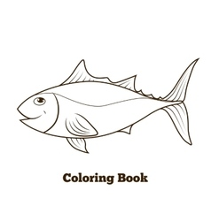 Coloring book tunny fish cartoon educational vector