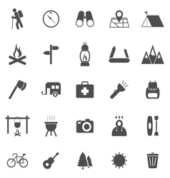 Trekking icons on white background vector