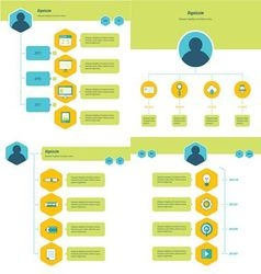 Set of timeline design set green yellow and blue vector