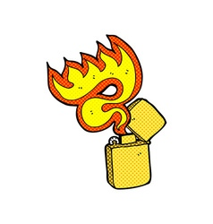 Comic cartoon metal lighter vector