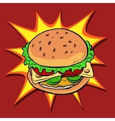 Burger fast food retro pop art vector