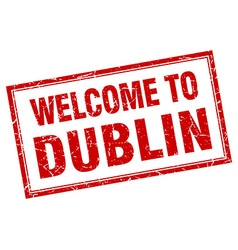 Dublin red square grunge welcome isolated stamp vector