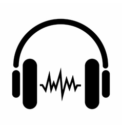 Sound in headphones icon simple style vector
