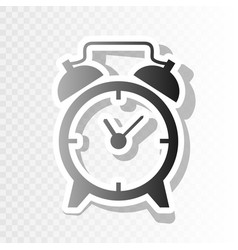 Alarm clock sign new year blackish icon vector