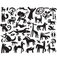 Animals doodles vector
