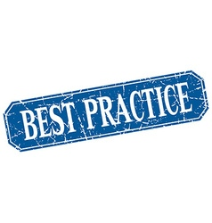 Best practice blue square vintage grunge isolated vector