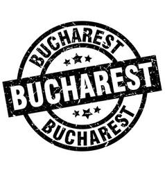 Bucharest black round grunge stamp vector