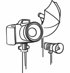 camera photo umbrella and flash vector image vector image