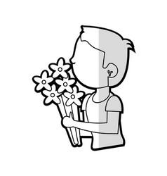 Cartoon son boy with flowers bunch vector