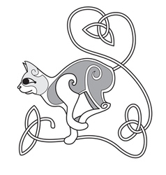 Celtic cat with heart knotted tail vector