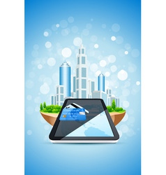 city island credit card and tablet pc vector image vector image