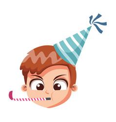 cute boy face on birthday vector image