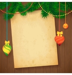 Decorated christmas tree branch new year vector