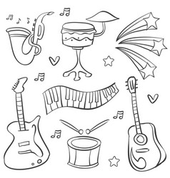Doodle music various element collection vector