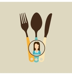Fork spoon and knife woman icon vector