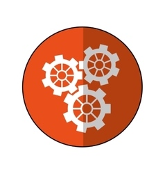 Gear wheel engine cog icon orange shadow vector