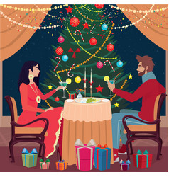 girl and guy toast glasses in the christmas eve vector image